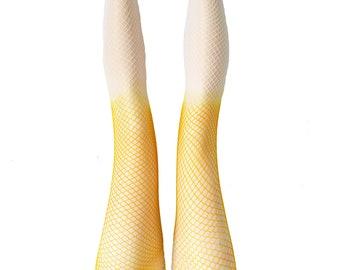 8b15eb2f9f575 Accessorize Agoraphobix yellow and white ombre fishnet tights fishnet  leggings tie dye fishnets