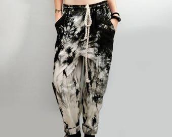 Slouchy drawstring black smoke tie dye pants loose fit pants   pajama pants   harem pants