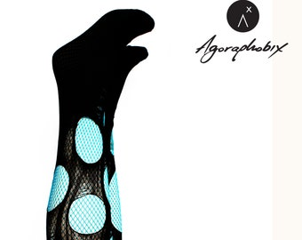 a50610b318126 Accessorize Agoraphobix fishnet tights turquoise double layered tattered &  torn tights fishnet leggings