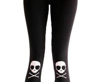 5ef87e675ff3c2 Skully Knee Pad Skull printed leggings punk aesthetic clothing halloween  leggings | yoga leggings pastel goth leggings