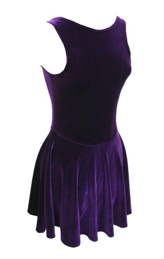 The Calipso Goth Dress Purple Velvet Dress Skater Dress Etsy