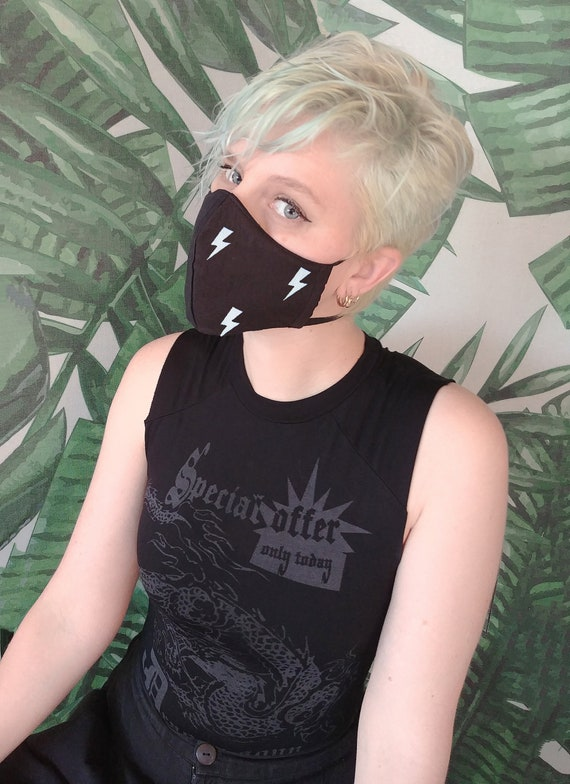 handmade Black lightning print cotton facemask cloth face   cute face mask mask rave mask   washable mask apocalyptic clothing