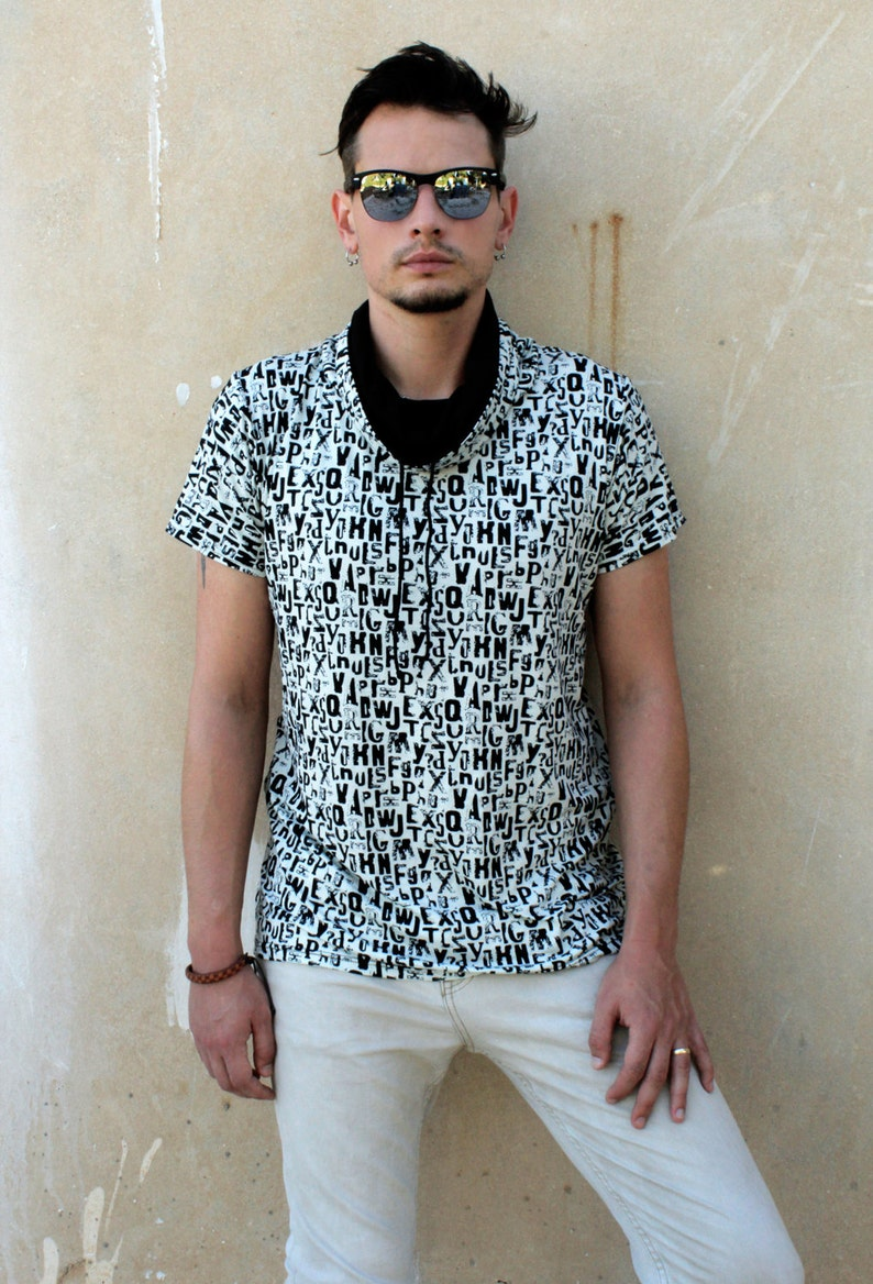 75f116c83d2d3d Black and white letter print Cowl Neck T shirt Mens t shirt | Etsy