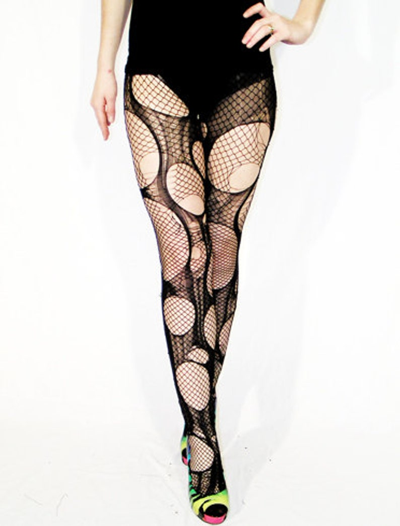 7cbc4d9382255 Accessorize Agoraphobix double layered tattered & torn tights   Etsy