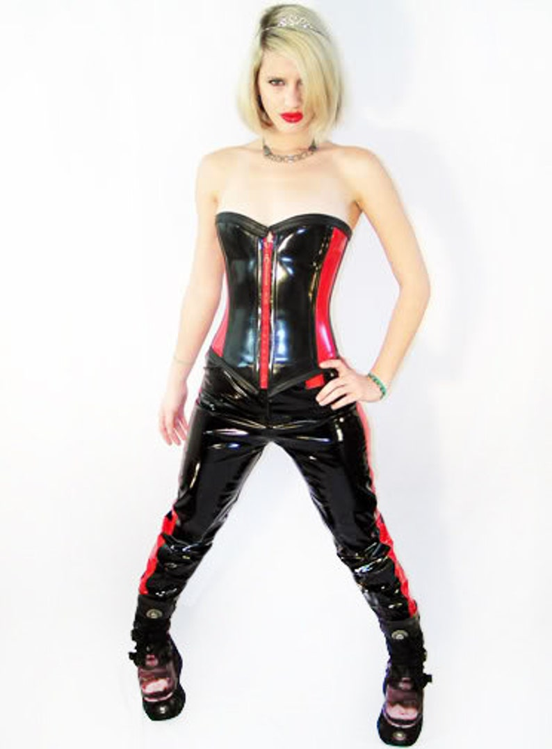 Custom made corset Motorcross Racer red /& black vinyl leatherette boned corset cyberpunk handmade corset