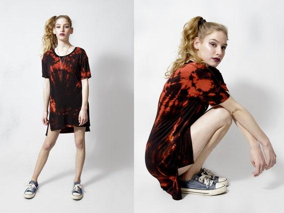 4c45331e51a Shirt dress in bleach tie dye steampunk dress tunic oversized