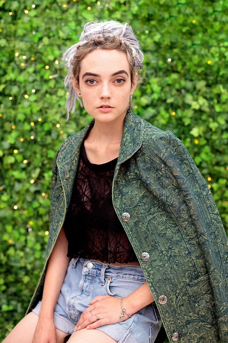 6d3ac5fefd8 Punk Jacket Acid wash yellow green floral grunge denim jacket