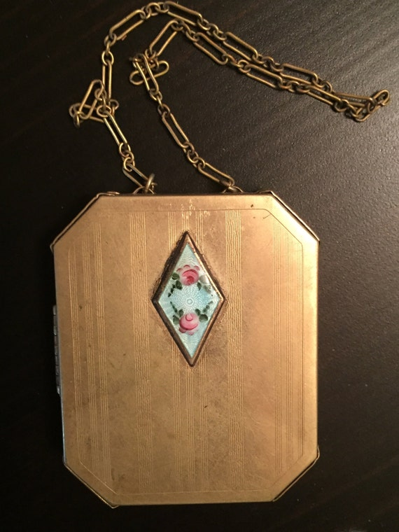 Guilloche Enamel Floral Necessaire  ~  1920/'s Dance Compact With Carrying Chain