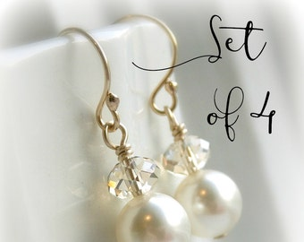 Bridesmaid earrings set of 4 pearl earrings bridesmaid gift Swarovski crystal earrings clear or champagne crystal ivory pearl, white pearl,