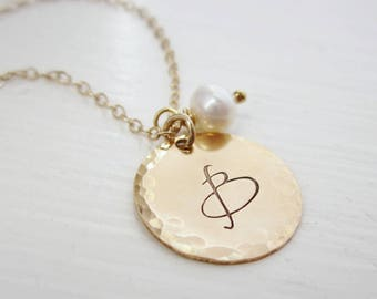 Gold initial necklace with freshwater pearl charm necklace, gold initial charm, personalized gold necklace, custom initial, pearl necklace