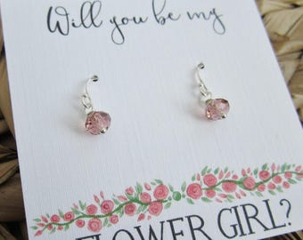 Flower girl earrings Flower girl proposal card Will you be my Flower Girl Sterling silver small dangle earrings Swarovski Crystal earrings
