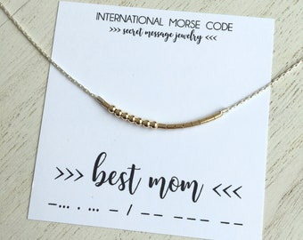 daead25ed Mothers Day Gift Best Mom necklace Personalized hidden message necklace  Secret message jewelry Morse code necklace Silver beaded necklace