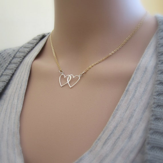 Hearts Intertwined Design Two Hearts Necklace Open Heart Necklace Thin Silver Necklace Intertwined Hearts Silver Long Heart Necklace