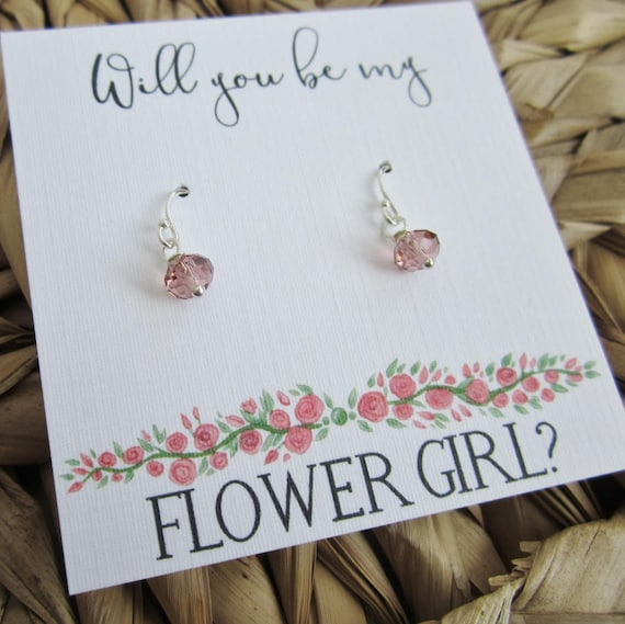 UK Wedding Silver Flower Girl Faux Pearl Necklace with Gift Card