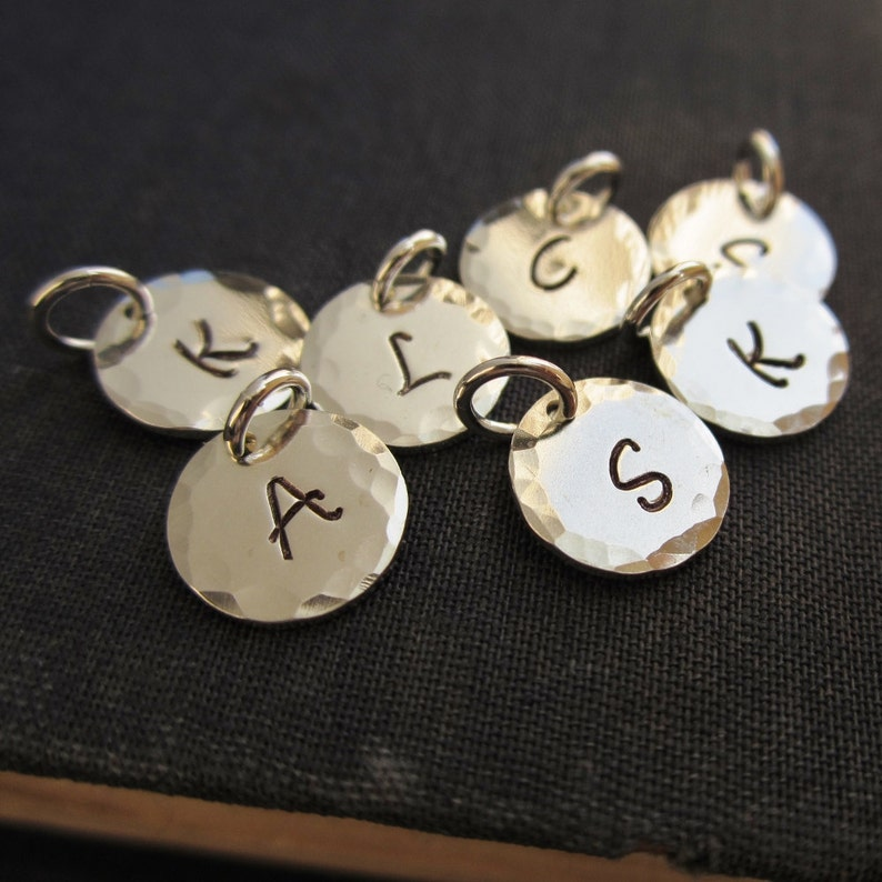 Personalized initial charm hand stamped custom sterling image 0