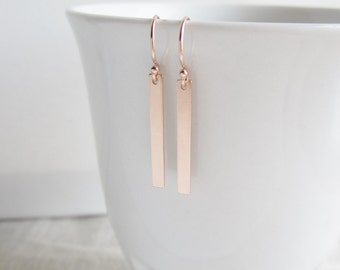 ROSE gold metal bar earrings, rose gold earrings, gold filled, blush pink gold earrings, minimalistic, long dangle earrings, modern earrings