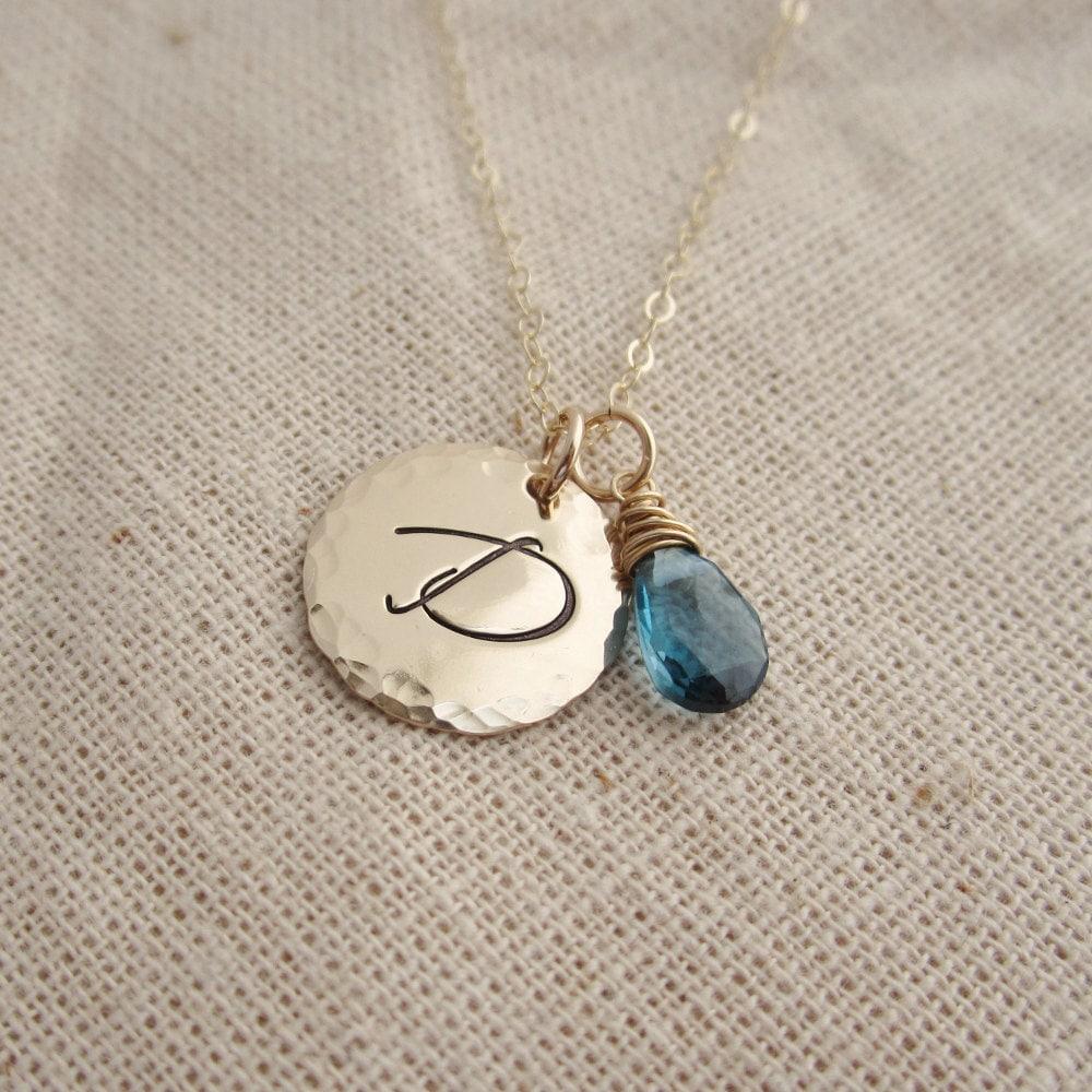 14k Gold Garnet January Birthstone Cursive Letter D Dog-tag Necklace