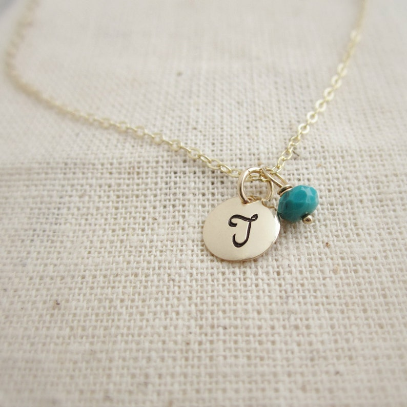 14k Gold Aquamarine March Birthstone Cursive Letter P Dog-tag Necklace