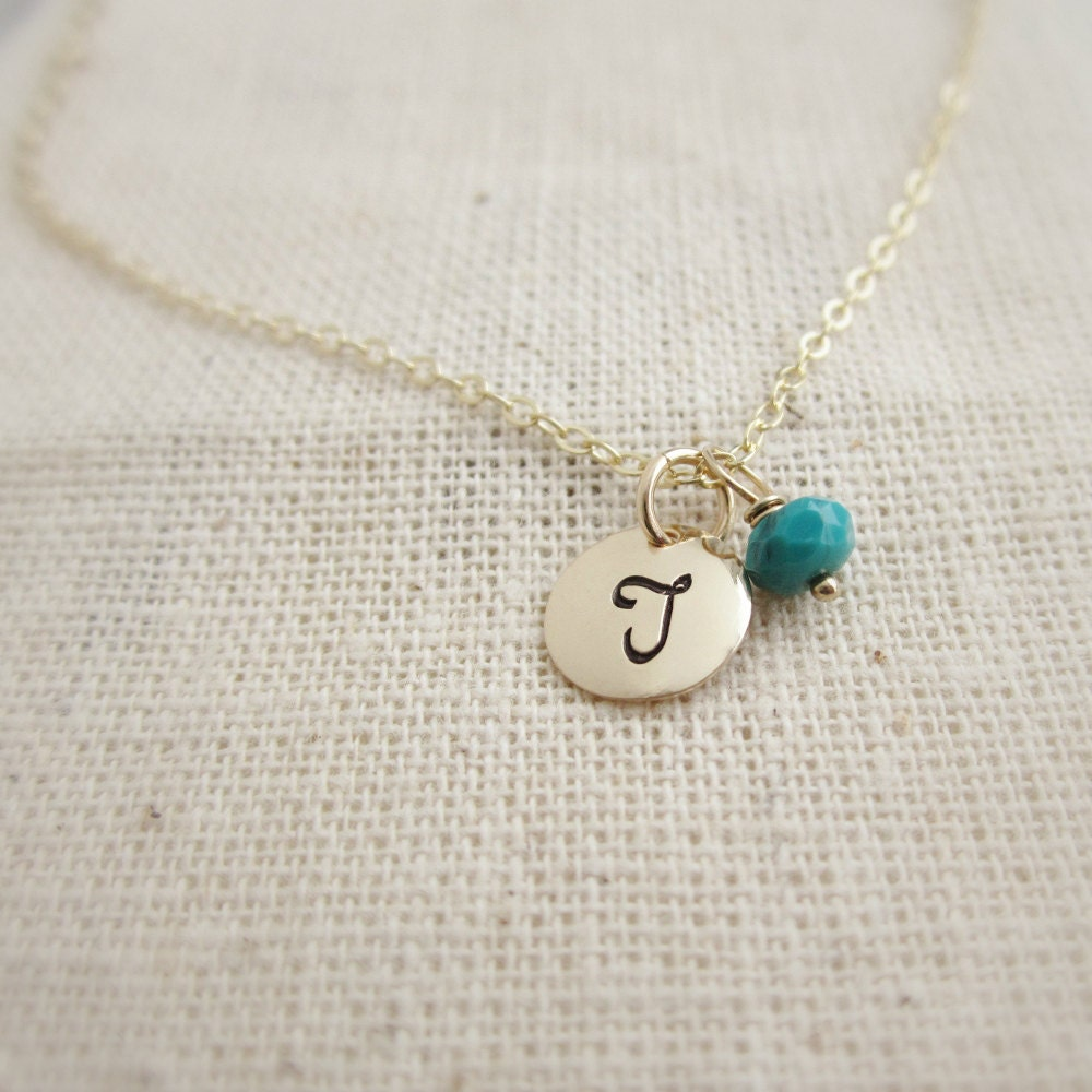 14k Gold Aquamarine March Birthstone Cursive Letter R Dog-tag Necklace