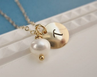 Bridesmaid gold initial necklace, pearl necklace, bridesmaid gift, handstamped personalized necklace, birthstone necklace, monogram necklace