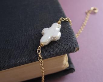 Pearl bracelet, sideways cross bracelet, freshwater pearl on 14K gold filled chain, cross shaped pearl, delicate jewelry