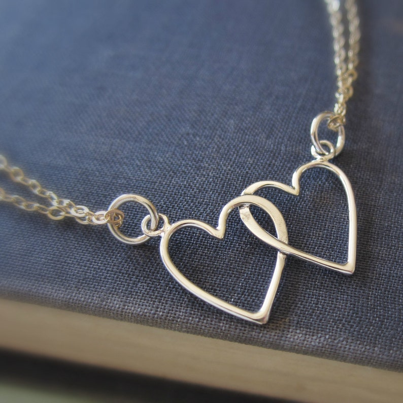 Intertwined hearts necklace two hearts love necklace ...