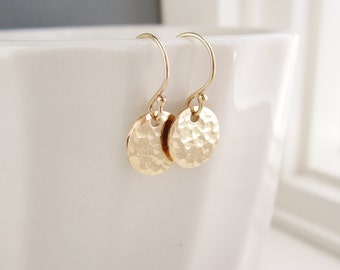 Gold earrings, gold dot earrings, hammered 14K gold fill, simple everyday earrings, gold circles, disc earrings, small earrings gold jewelry