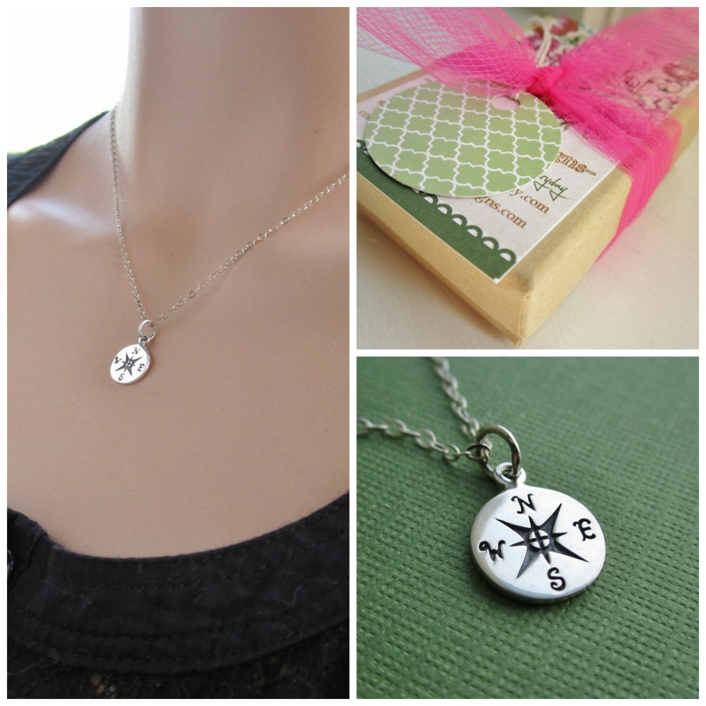 9111e2ce33a7 Compass necklace nautical jewelry north south east west