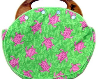 BERMUDA Bag Ladies with Reversible Cover in our Signature Pink Turtles Fabric CUSTOM HANDMADE at the Time it's Ordered