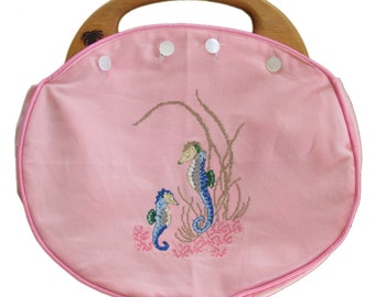 LADIES BERMUDA Bag My Seaside Collection Pink Twill with My Needlepoint Cross Stitch Seahorse Design, Reverse side is My pink/green turtles