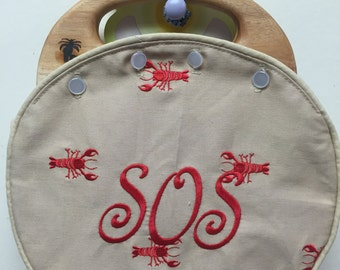 Ladies Bermuda Bag in Vintage Lilly Embroidered Red Lobsters Choose Which Handle YOU Want! CUSTOM HANDMADE