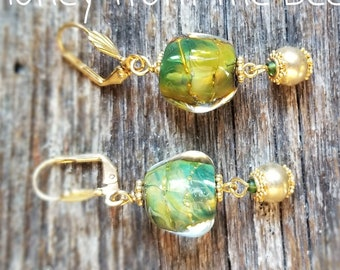Suvarna - Gold and green lampwork earrings