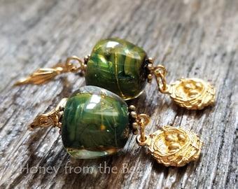 Green and gold lampwork earrings - Bird's Nest earrings - nature inspired