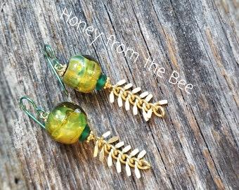 Hanging Vines lampwork earrings - green lampwork earrings - green gold earrings