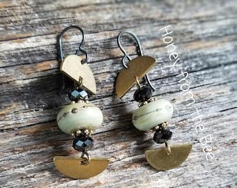 Brass, black and cream earrings - Dreams in a Bottle - Lampwork and brass earrings