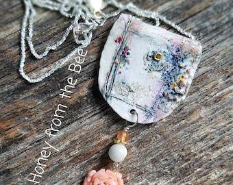 Garden Window pendant - vintage coral rose pendant - Statement necklace - Flower necklace
