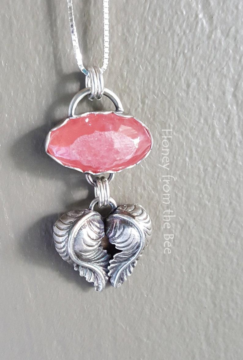 Rhodochrosite Silver Heart Pendant Heart of the Matter