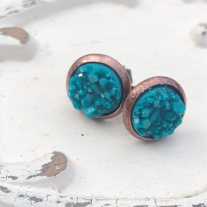 Teal Green Druzy Earrings Dainty Peacock Blue and Copper Tone image 0