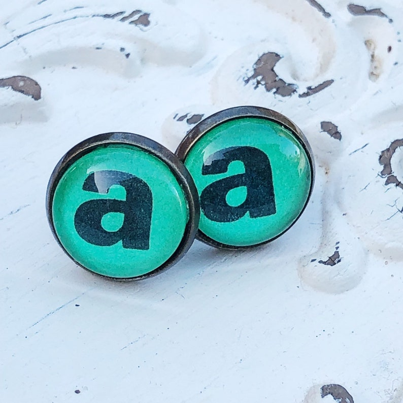 Letter A Initial Post Earrings Vintage Dictionary Text image 0