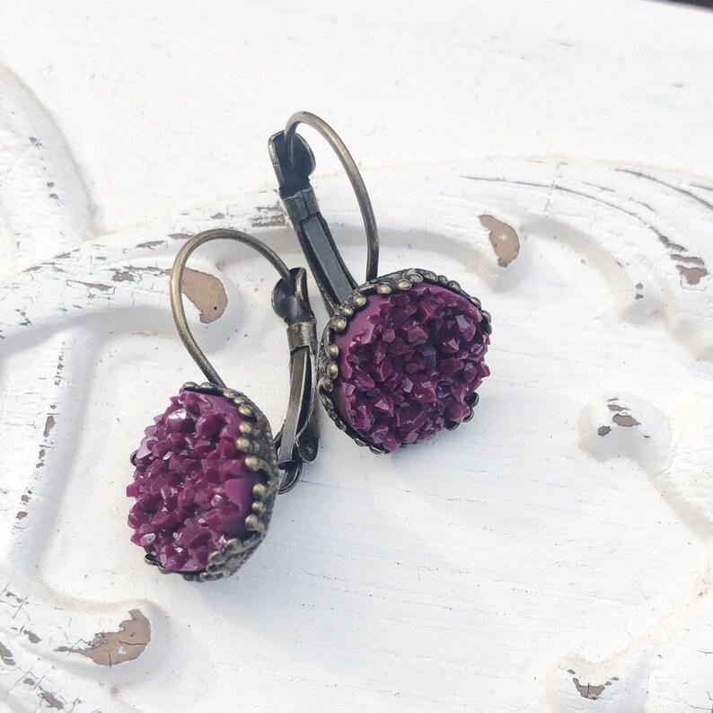 Matte Burgundy Druzy Dangles Wine Faux Druzy Earrings image 0