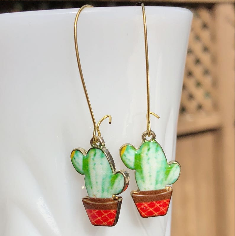 Cactus Dangle Earrings Cacti Rockabilly Pin Up Style Vintage image 0