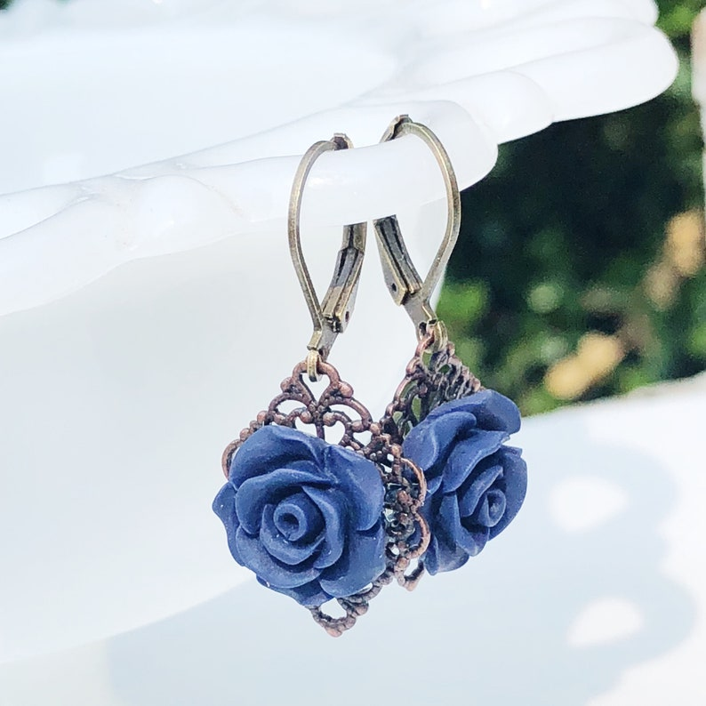 Navy earrings rose dangle earrings Dark blue flower image 0