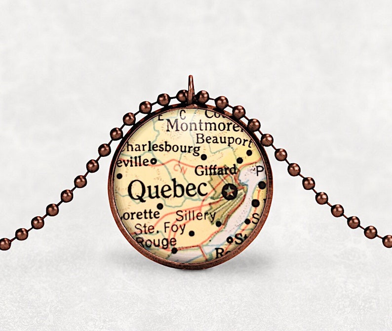 Quebec map necklace vintage map wanderlust jewelry vacation image 0