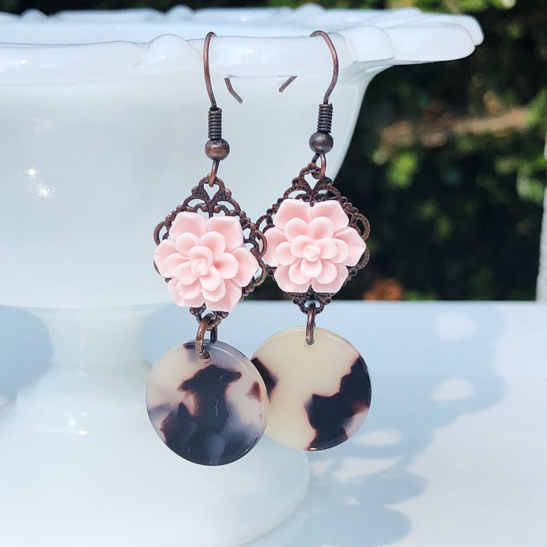 Pink succulent & leopard pinup earrings acrylic tortoise image 0