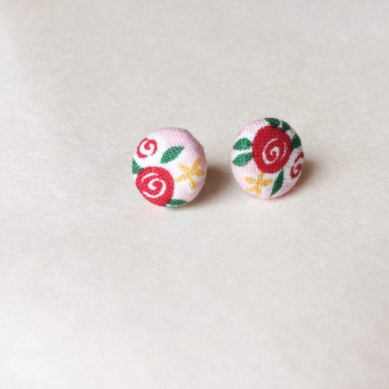 Floral button earrings pink romantic earrings rose lover image 0