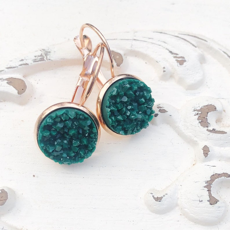Emerald Green Matte Druzy Earrings Modern Jewel Tone Faux image 0