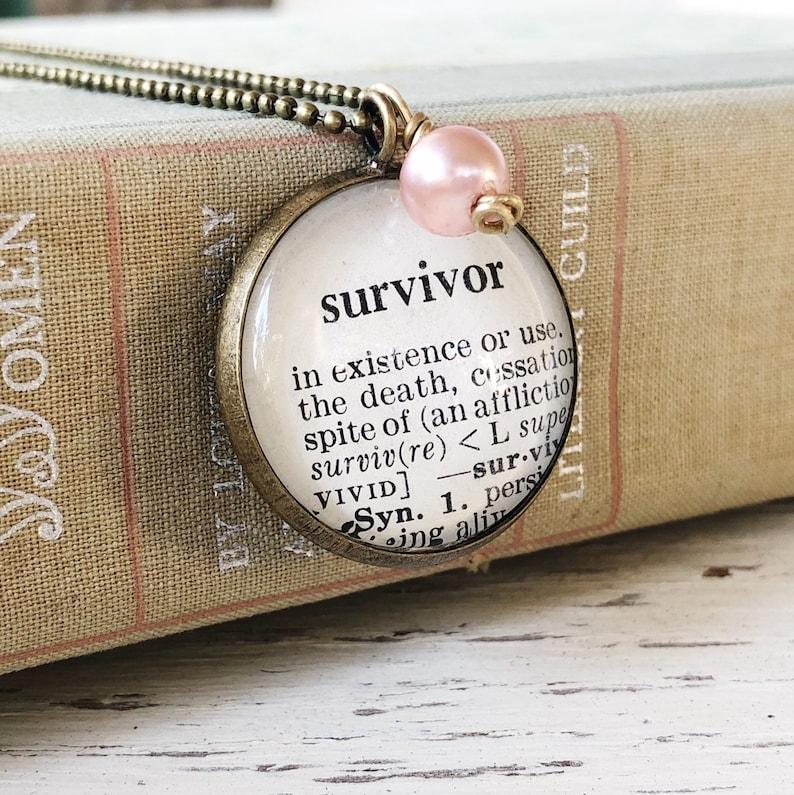 Breast Cancer Survivor Necklace Vintage Dictionary Definition image 0