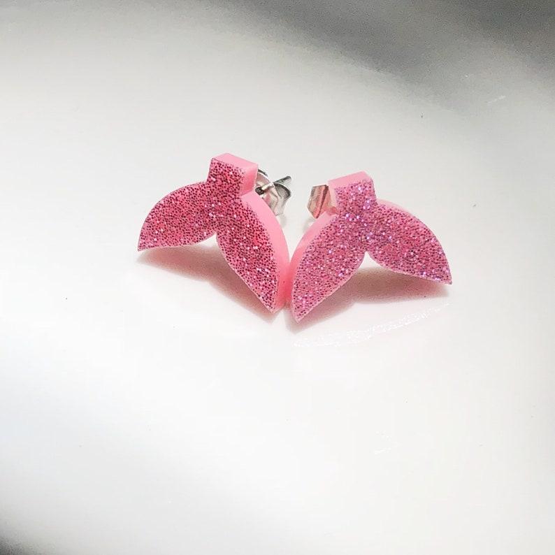 Pink Mermaid tail stud earrings Pink acrylic glitter mermaid image 0