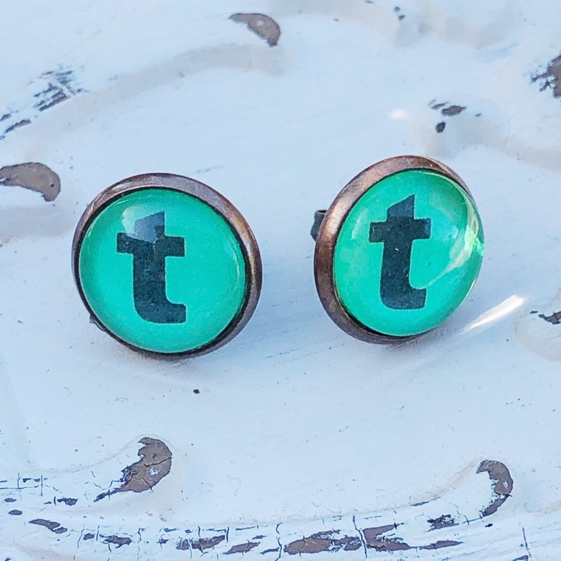 Letter T Initial Studs Vintage Dictionary Text Jewelry image 0