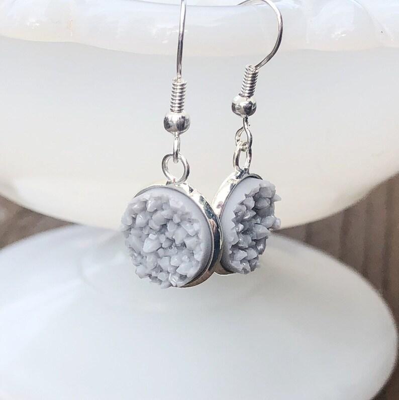 Light Grey Druzy Dangle Earrings Dove Gray Faux Crystal Drusy image 0
